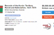 9000 Pages Book Published on Records of the Kurds: Territory, Revolt and Nationalism