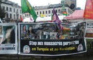 Demo by Kurdish politicians outside EP against AKP's war on Kurds